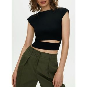 EUC Wilfred Cut-Out Black Knit Top Cropped XS